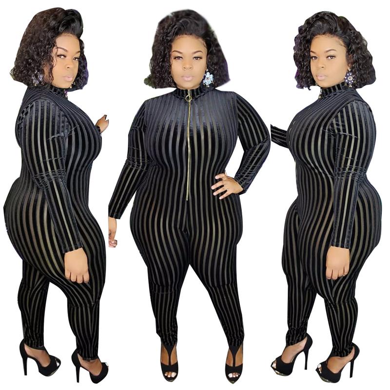 Adogirl Sheer Mesh Velvet Patchwork Stripe Plus Size Jumpsuit XL-5XL Front Zipper Long Sleeve Skinny Casual Romper Women Overall