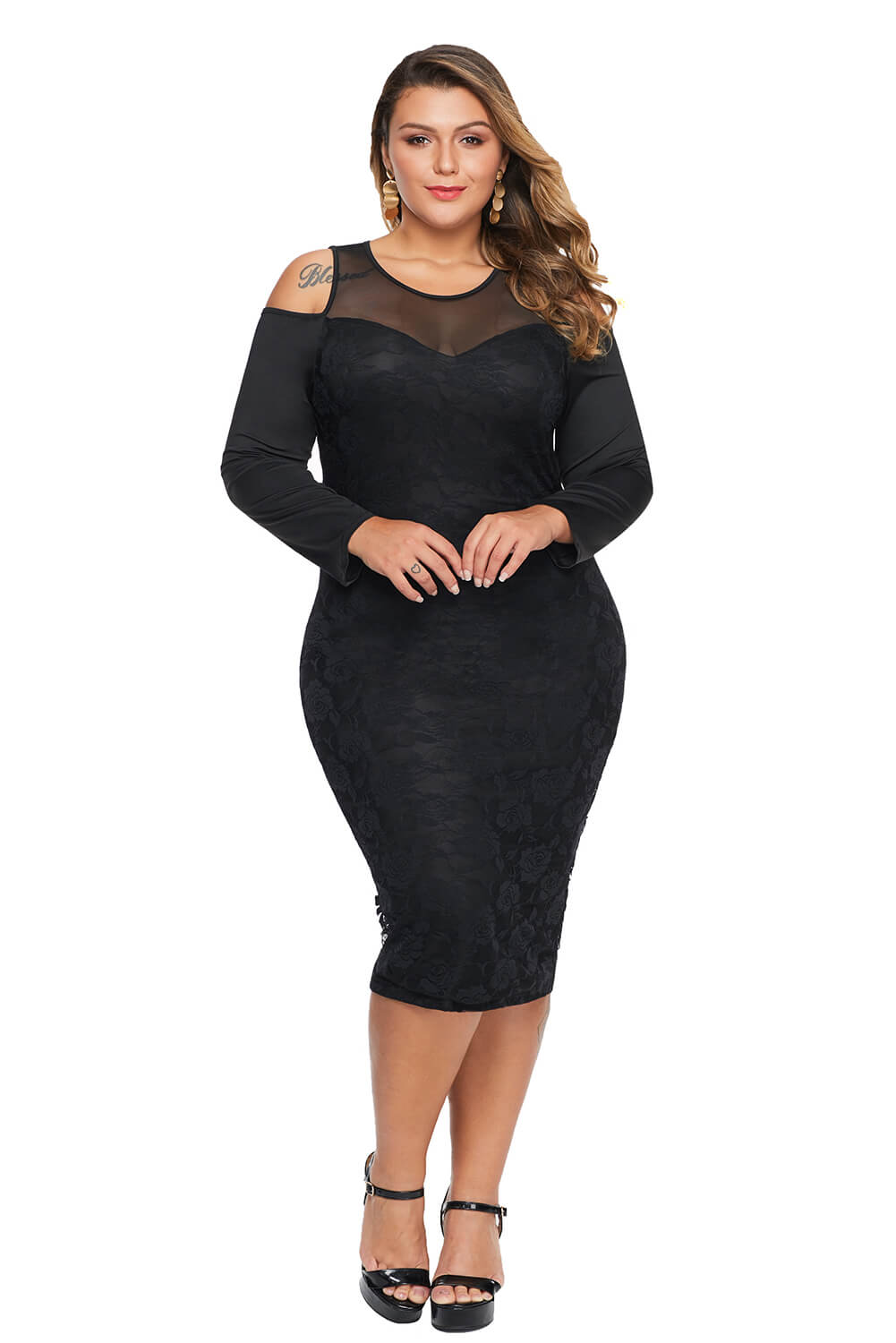 Adogirl White Cold Shoulder Mesh Yoke Plus Size Dress XL-5XL 2019 Autumn New Women Long Sleeve Bodycon Midi Party Lace Dress