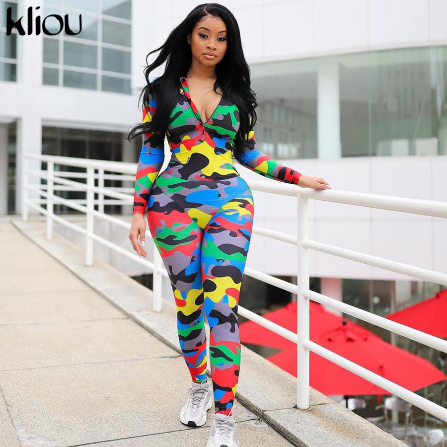 Kliou Long Skinny jumpsuit Women 2019 Zipper High Collar Full Sleeve Casual Camouflage bodysuit Sexy Rompers Ladies playsuit