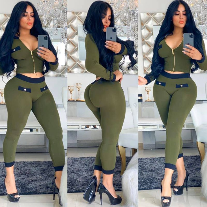 HAOYUAN Sexy Two Piece Set Women Crop Top and Pants Tracksuit 2020 Spring Clothes Sweat Suits 2 Piece Club Outfits Matching Sets