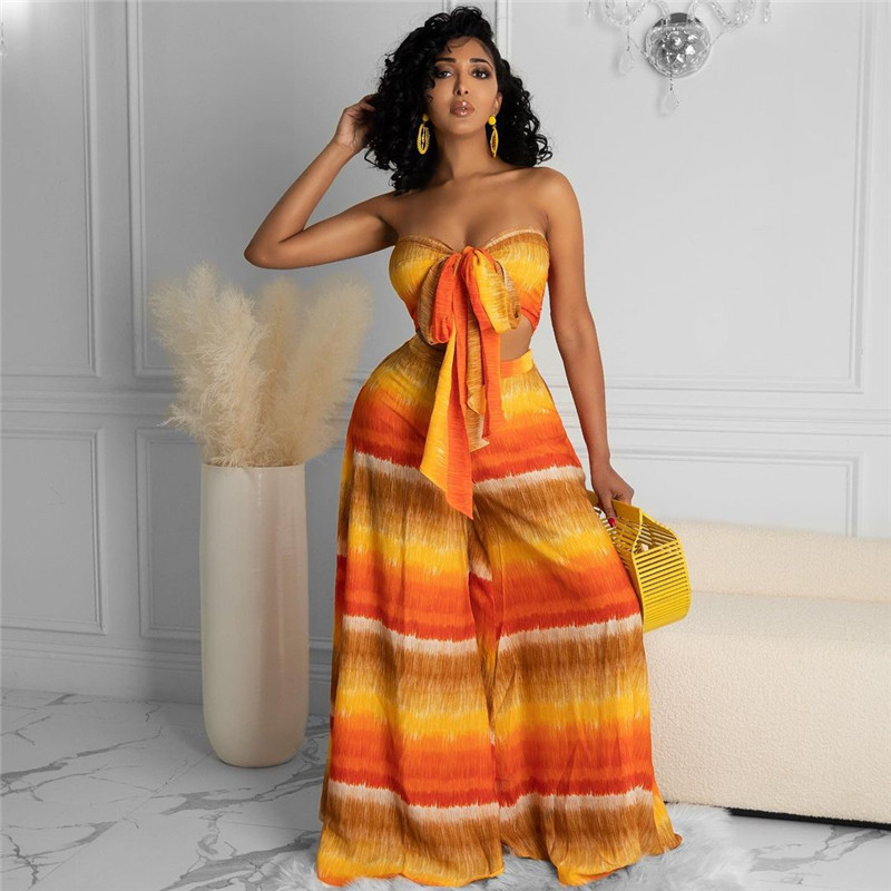 hirigin Tie Dye Print 2 Pieces Women Suits Beach 2021 Sexy Off Shoulder Strapless Bow Tubes Tops High Waist Wide Leg Pants