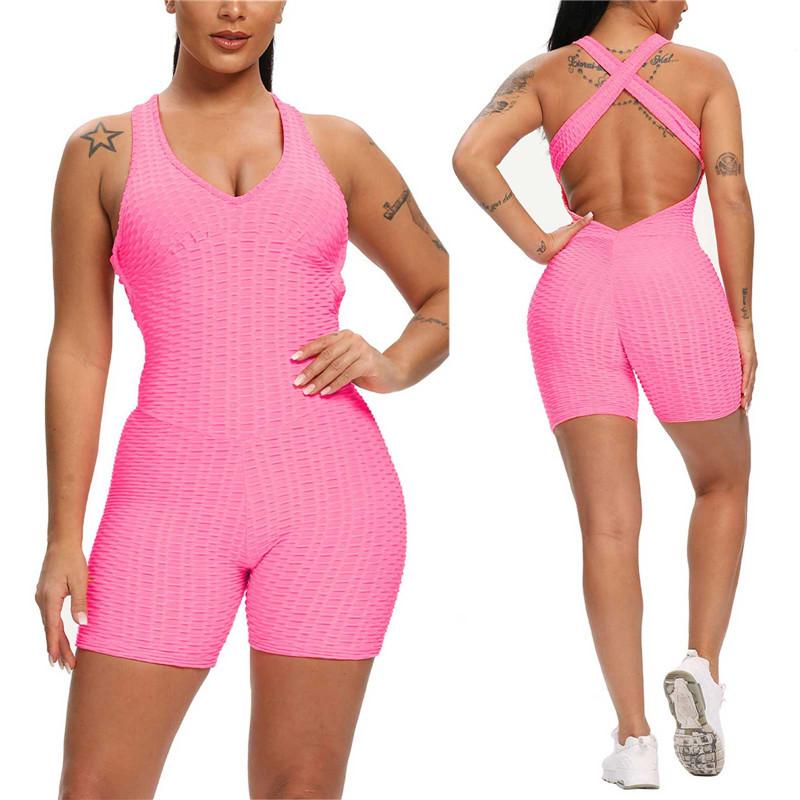 hirigin High Waist Women Bodysuit Sleeveless Back Cross Sports Slimming Jumpsuit Fitness Gym Tracksuits Female Push Up Leggings
