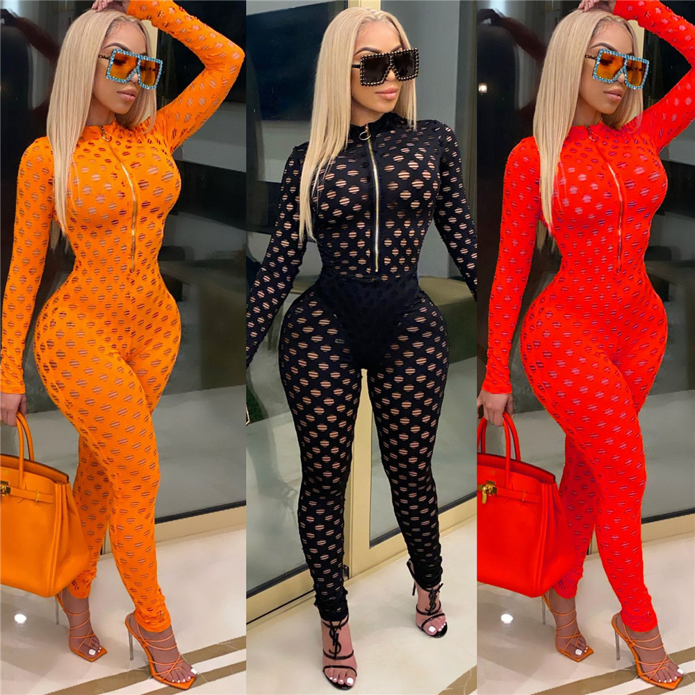 Hollow Out Sheer Sexy Rompers Jumpsuit Women Front Zipper Long Sleeve Night Out Club Party Bodycon One Piece Overalls for Women