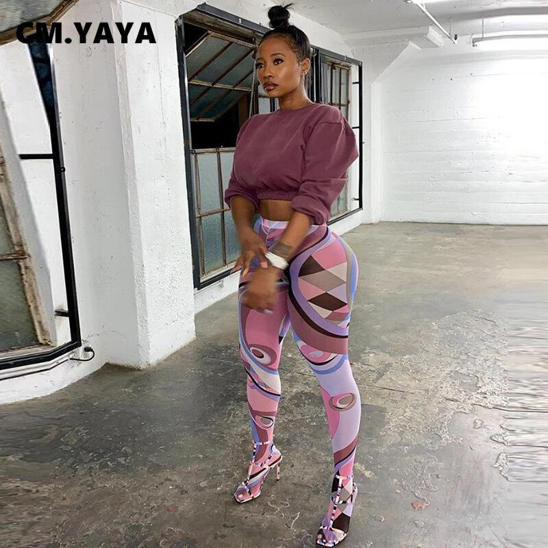 CM.YAYA Women Paisley Wave Print Mesh See Though High Wasit Elastic Sock Leggings 2021 Streetwear Active