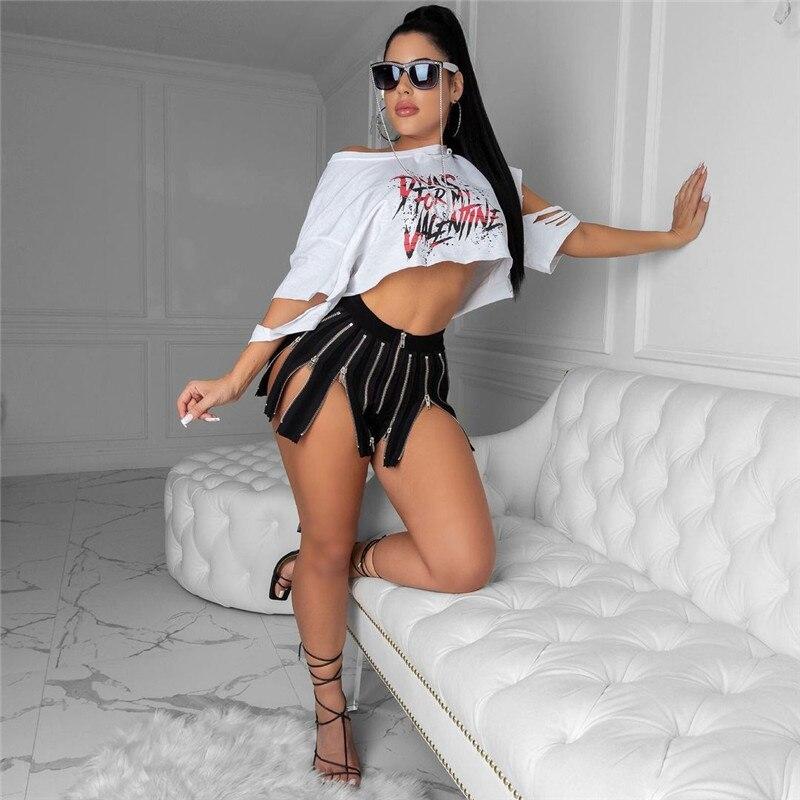 Adogirl Women Fashion Sexy Black Zipper Shorts Pleated Short Trousers Summer Beah Pants