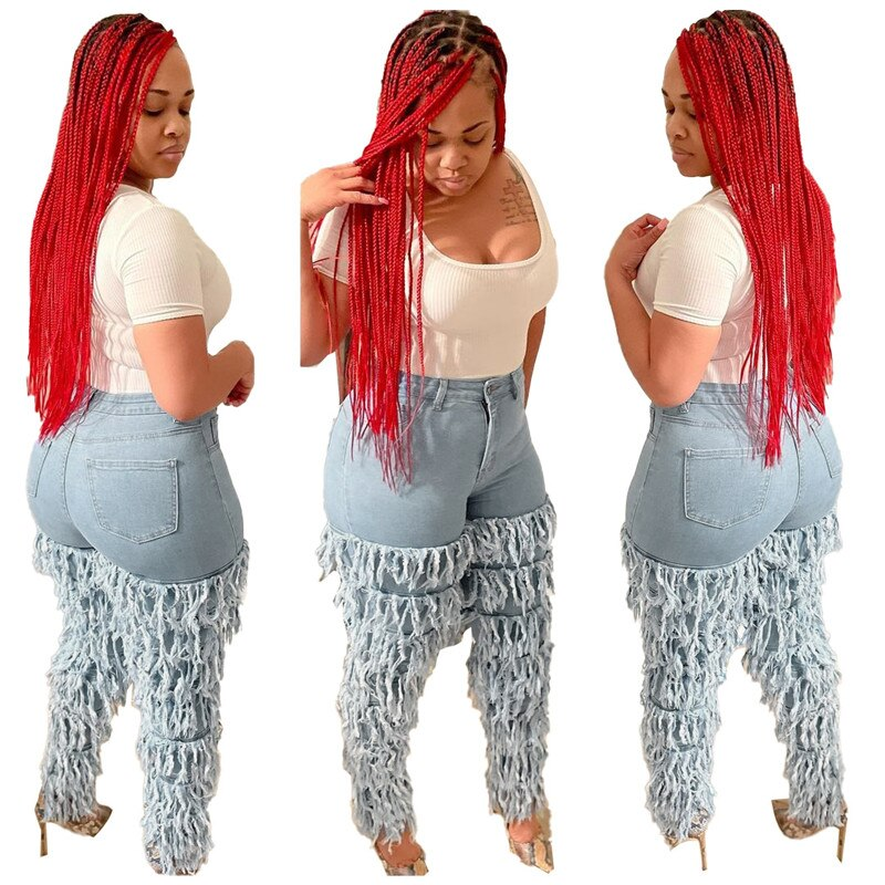 Adogirl Women Cascading Tassel Jeans Pants Button Fly High Waist Fashion Casual Pencil Trousers