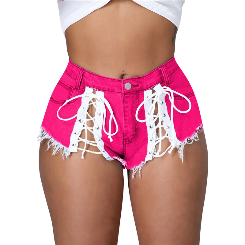 Adogirl Lace Up Tassel Jeans Summer Shorts for Women Sexy Button Fly Mini Night Club Trousers Streetwear