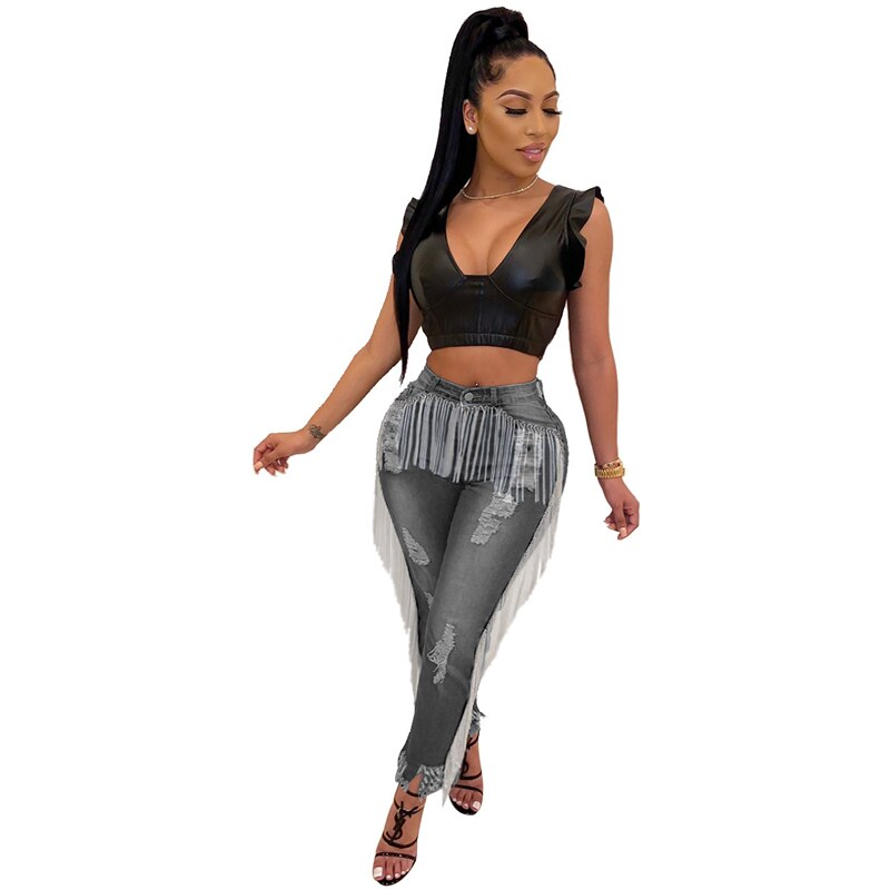 Adogirl Holes Tassel Washed Jeans Button Fly Highly Stretchy Skinny Pants Autumn Winter Women Fashion Casual Trousers Streetwear