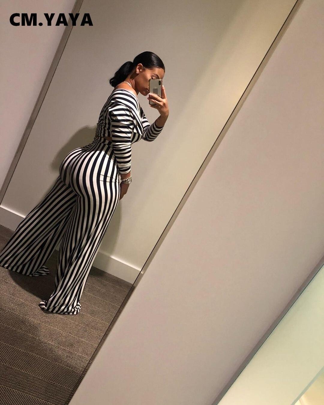 CM.YAYA Aumutn Women set Striped Full Sleeve Sexy Fashion Loose Pants Deep V-Neck Women Two Set