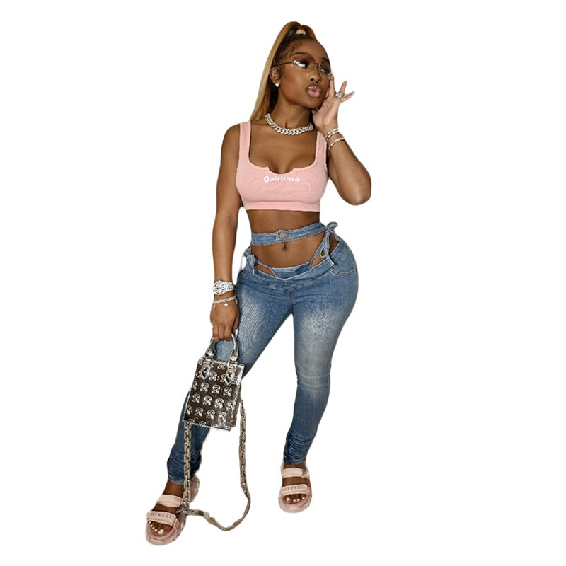 Adogirl Fashion Women Jeans with Panties Sexy Slim Fit Hollow Out Lace Up Washed Pencil Pants Casual Pleated Denim Trousers