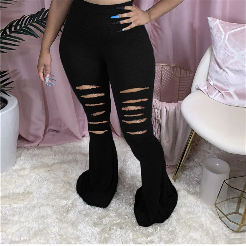 Adogirl S-2XL Solid Cotton Distressed Flare Pants 2020 Autumn New Women Fashion Sexy Hollow Out Big Bell Bottom Trousers